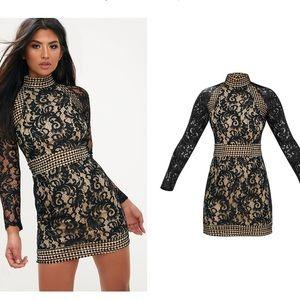 PLT black lace high neck body on mini dress